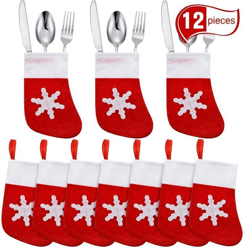 Mini Christmas Stockings Knife Spoon Fork Bag