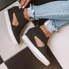 Load image into Gallery viewer, Women's Cut-Out Wedge Sneakers Back Zipper Shoes