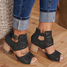 Load image into Gallery viewer, Buckle Hollow Heeled Sandals