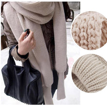 Load image into Gallery viewer, Crochet Knitted Scarf Shawl with Sleeves