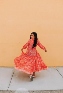 Red Coral Bohemian Adventure Dress