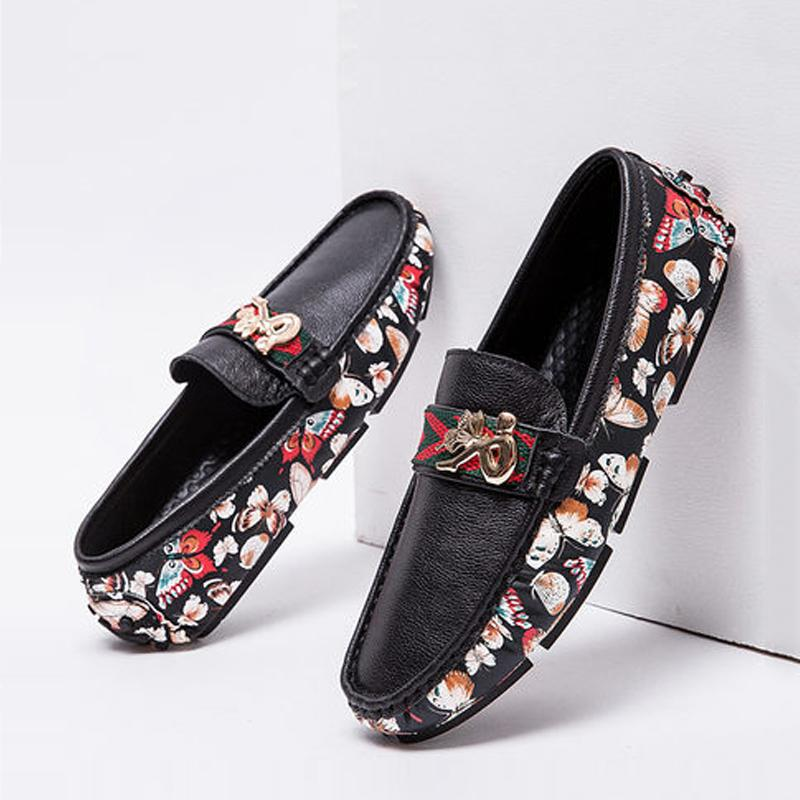 Cowhide Multi Printed Slip On Men's Loafer