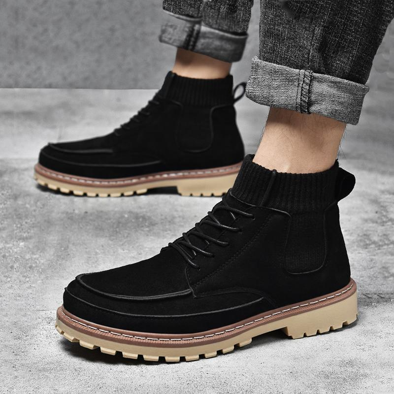 Suede Lace Up High-top Men's Boots