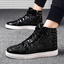 Sequin Fabric Lace Up Men's Boots