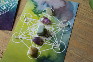 Crystal Grid Template - Flower of Life and Metatron's Cube Sacred Geometry
