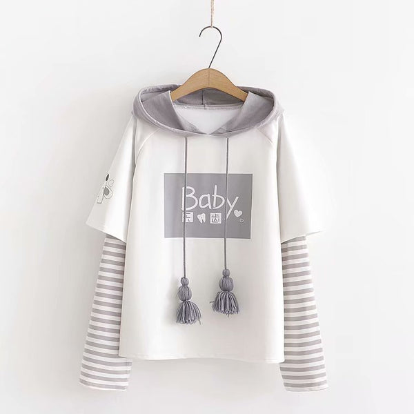 Cartoon print sweet tassel hooded long-sleeved pullover