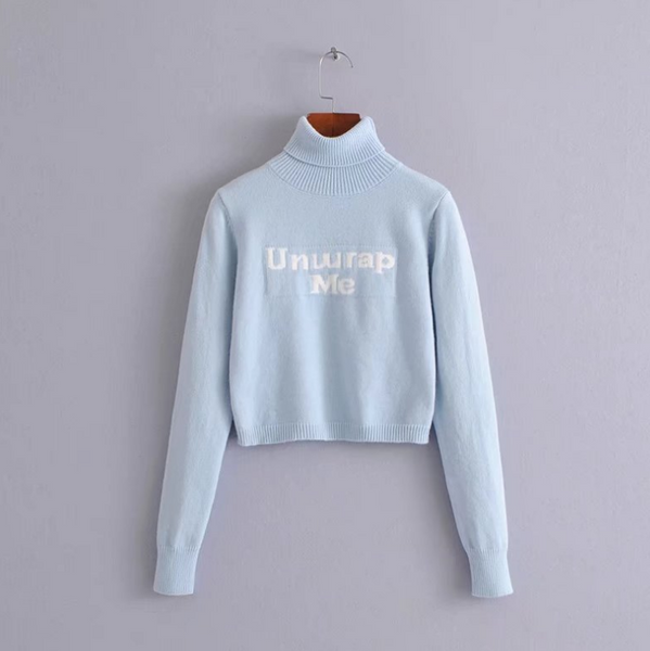 Solid color high collar letter embroidery slim long sleeve sweater