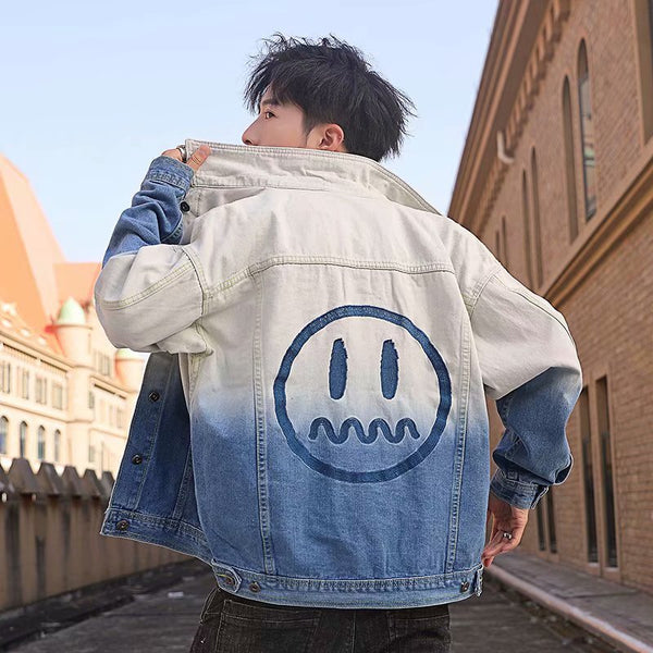 Hip-hop Gradient Tide Brand Denim Jacket