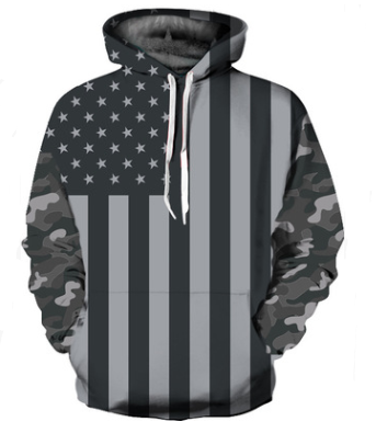Black and white American flag positioning digital printing European and American large size couple hooded sweater men