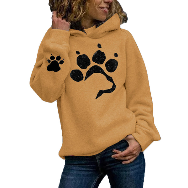 Printed cat paw casual sweater