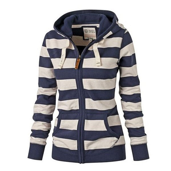 Hooded large size long sleeve striped sweater