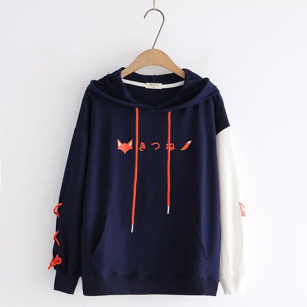 Lace-up Japanese Fox Hoodie