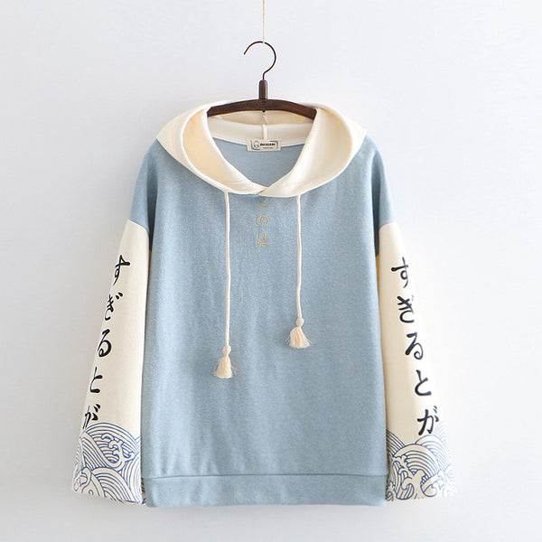 Women's printed hooded sweater