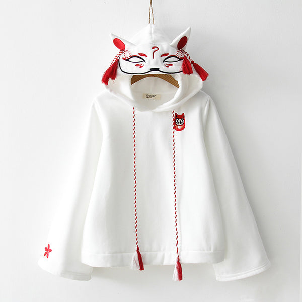 Mask fox print hooded long sleeve embroidery