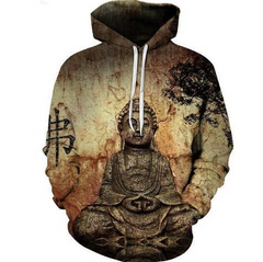 BG Raisevern Buddha Statue Brown 3D Hoody Men Women Unisex Sweaters Pullovers Autumn Winter Loose Hooded Coat Slim Tops Dropship