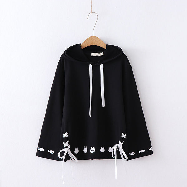 Women's loose hooded sweater