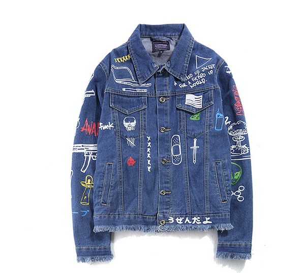 Hip hop printed denim jacket