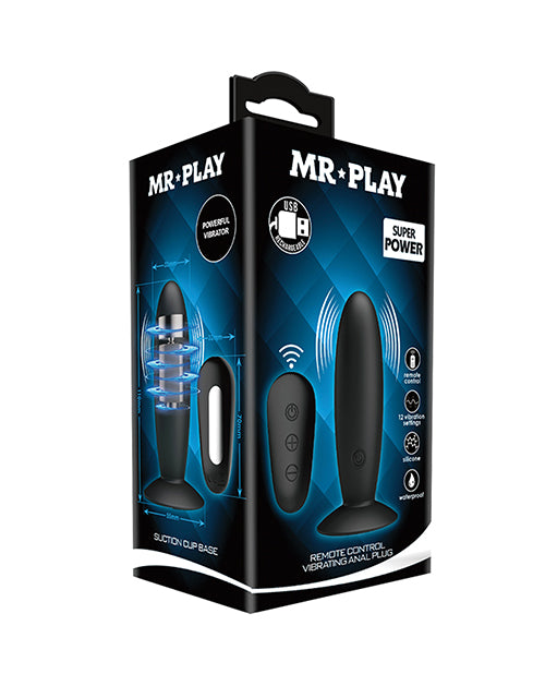 Mr.play Remote Control Vibrating Plug - Black