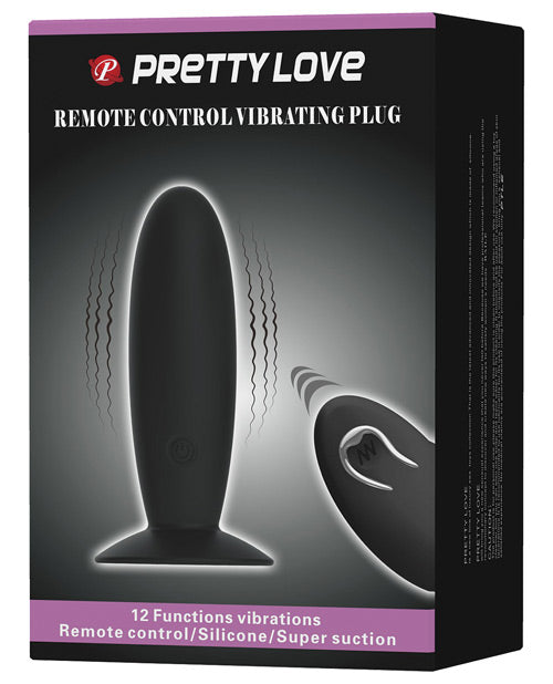 Pretty Love Remote Control Vibrating Plug - 12 Function Black