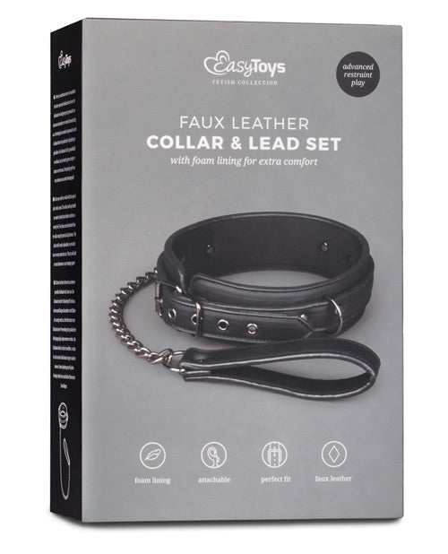 Easy Toys Fetish Collar W-leash - Black