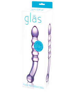 Glas Purple Rain Ribbed Glass Dildo