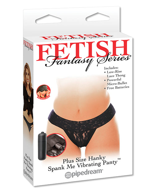 Fetish Fantasy Series Hanky Spank Me Plus Size Vibrating Panties - Black