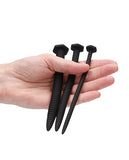 Shots Ouch Urethral Sounding Silicone Screw Plug Set - Black