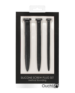 Shots Ouch Urethral Sounding Silicone Rugged Nail Plug Set - Black