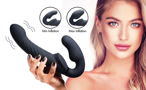 Ergo-fit Twist Inflatable Vibrating Silicone Strapless Strap-on