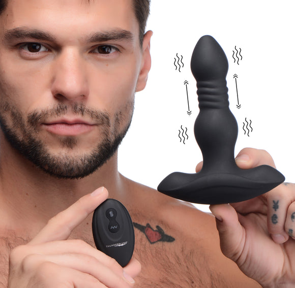 Vibrating And Thrusting Remote Control Silicone Anal Plug
