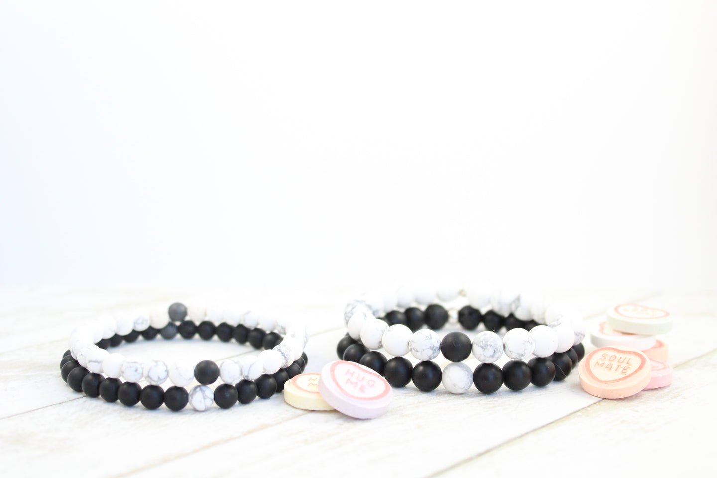 """Connection Stacks"" - Howlite + Black Onyx"