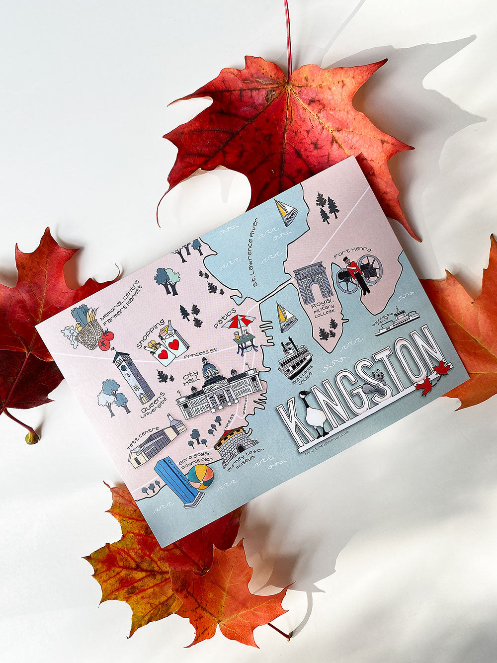 ILLUSTRATED KINGSTON MAP  -  5x7 POSTCARD