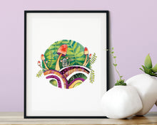 Load image into Gallery viewer, 5X7 PRINT – WOODLAND SCENE WITH CUTE MOUSE AND MUSHROOMS