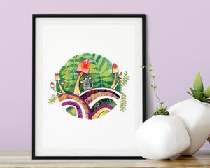 5X7 PRINT – WOODLAND SCENE WITH CUTE MOUSE AND MUSHROOMS