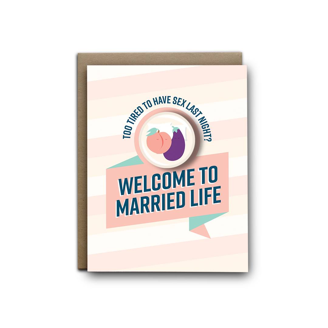 Too Tired Wedding Magnet Greeting Card