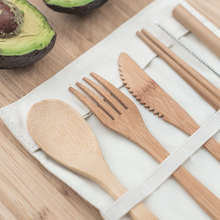 Load image into Gallery viewer, Travel Bamboo Cutlery Set