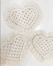 Load image into Gallery viewer, Macrame Heart Coasters
