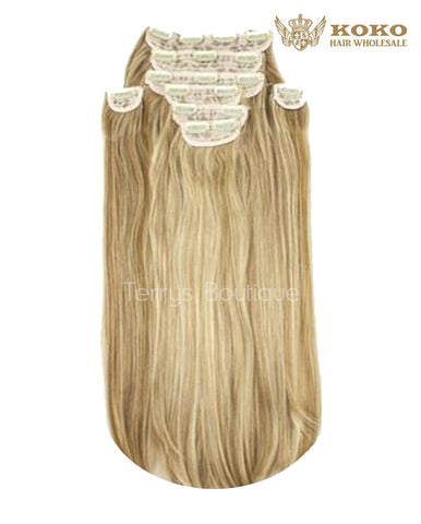 KOKO 20″ A8 straight 8 piece clip in extensions