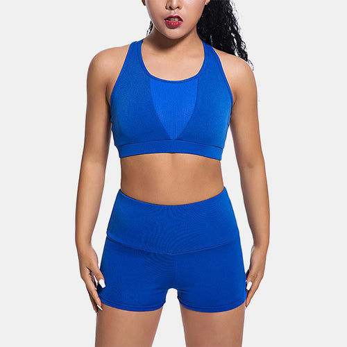 Women Seamless Sports Suits Yoga Set blue