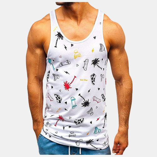 All Print Sports Tank Top Men Crazy White