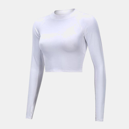 Fitness Long Sleeve Workout Tops White