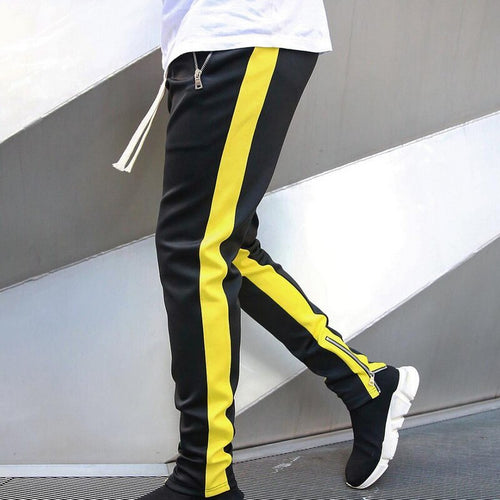 Sportswear Zippper Pants Black-Yellow