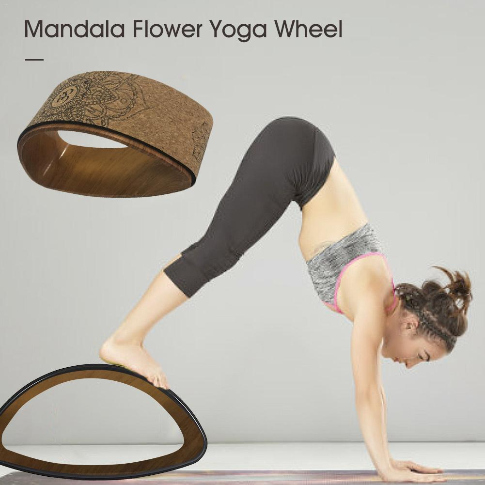 Wooden textured Cork Yoga Semi-Wheel