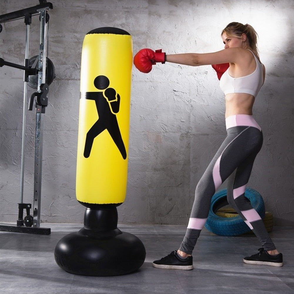 Vertical Inflatable Boxing Column Yellow