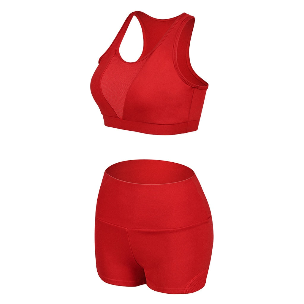 Women Seamless Sports Suits Yoga Set Red