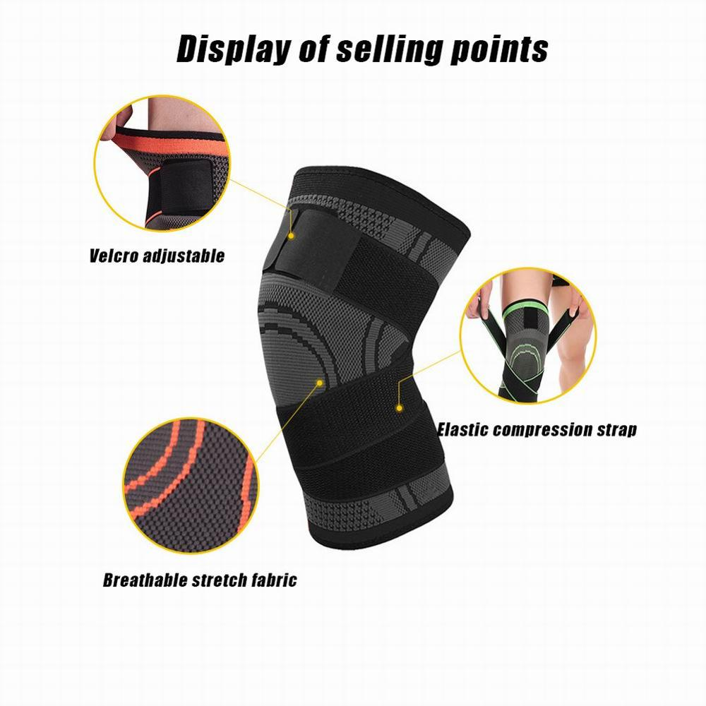 Knee Support Sleeve with tightening straps Black