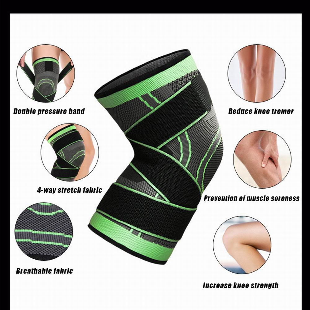 Knee Support Sleeve with tightening straps Green