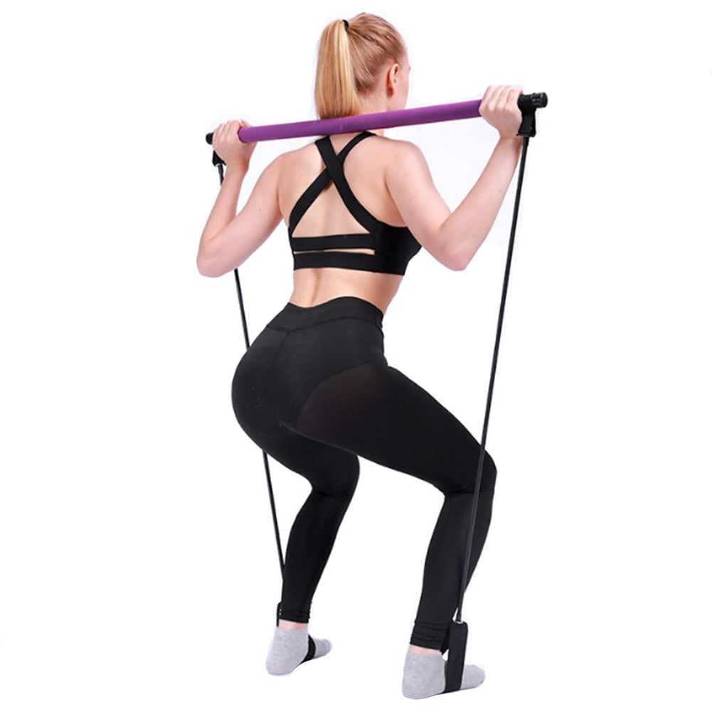 Portable Pilates Bar Kit with Resistance Bands Pink