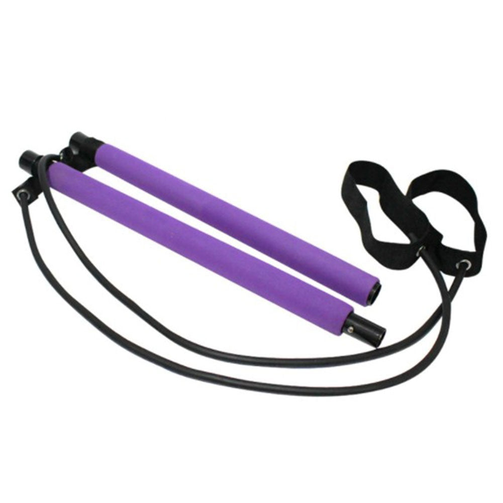 Portable Pilates Bar Kit with Resistance Bands Purple