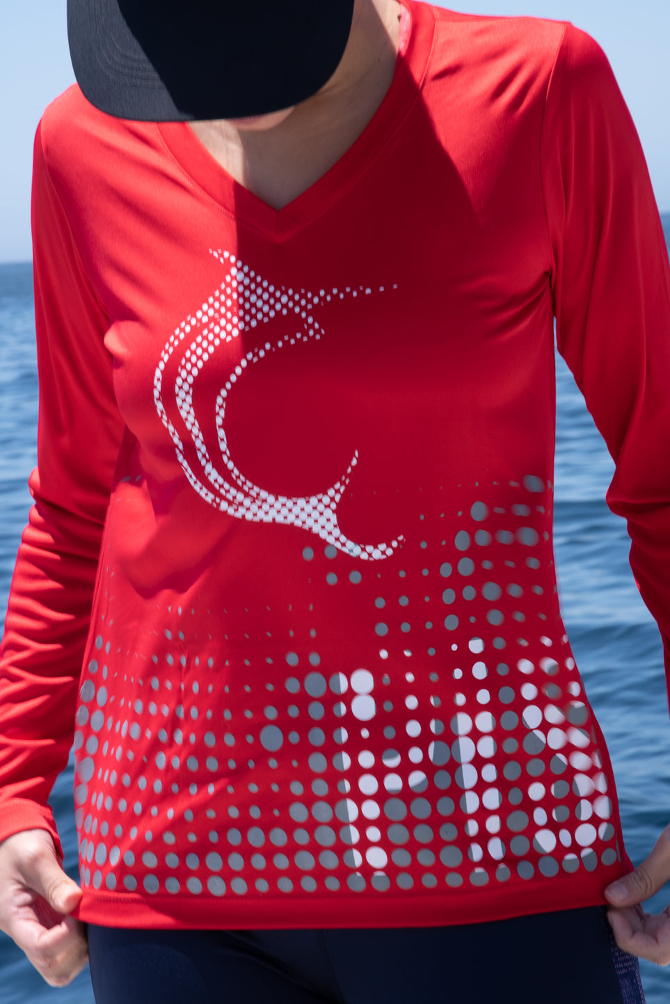 Red Bubbles Women's Performance Long sleeve V-Neck